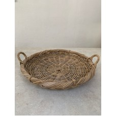 RATTAN THICK ROUND TABLE TRAY WITH HANDLE