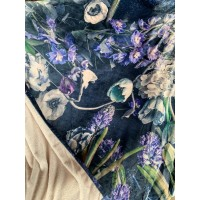 FEELING BLUE - Floral fleece blanket standard 1,5mx2m