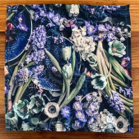FEELING BLUE - Floral poly cotton napkins 40cmx40cm