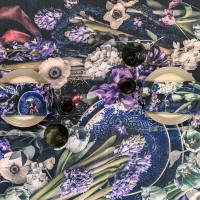 FEELING BLUE - Floral table cloth natural linen 150cm wide