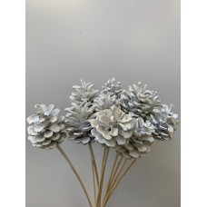 DECORATIVE CONIFER CONES - WHITE